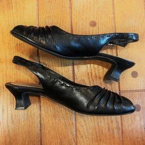 Black sling back kitten heels